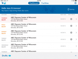 Wisconsin Department of Children and Families mobile app screen shot