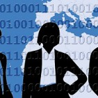silhouettes of five business people standing in front of a blue map of the earth overlayed with binary numbers
