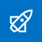 FIve white vector image of rockets on a blue background