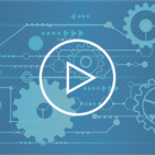 Video blog with play icon over futuristic abstract blue gears