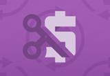 Vector image of scissors cutting a dollar symbol on a purple field