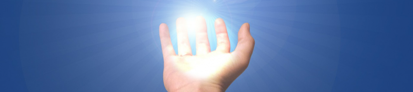 on a blue background an open palm holds a sun burst