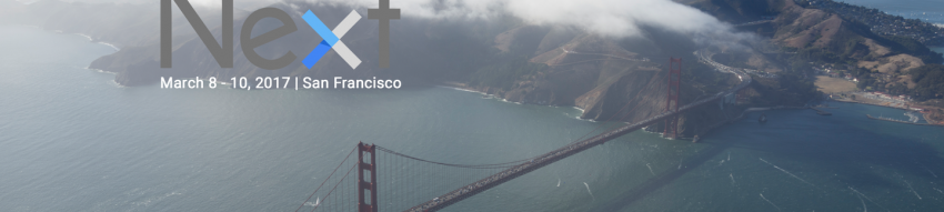 Aerial photo of the Golden Gate Bridge and San Francicso shrouded in clouds with the Google Next logo superimposed in the upper left
