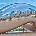 Painting of the Chicago Skyline reflected in Cloud Gate and Millennium Park